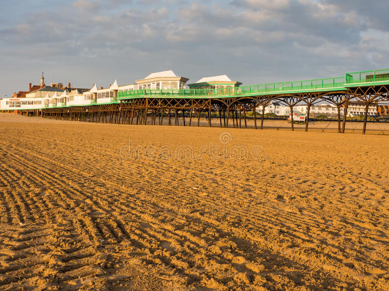 St annes pier. St Annes, Lancashire, UK. June 15th 2015. The pier at St Annes at low tide royalty free stock image