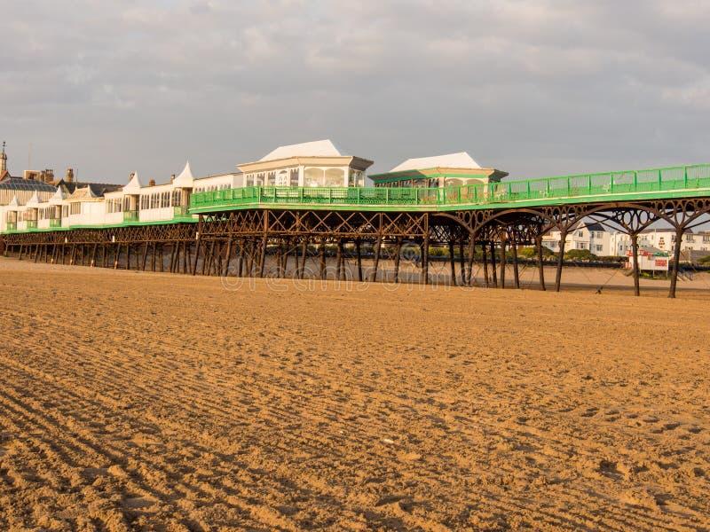 St annes pier. St Annes, Lancashire, UK. June 15th 2015. The pier at St Annes at low tide stock image