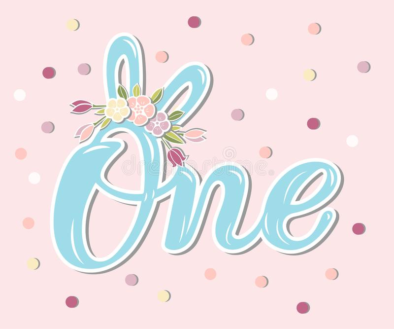1st, anniversary, baby birth, badge, banner template, blue, bunny ear, cartoon, child, clothes design, concept, cute, decoration, vector illustration