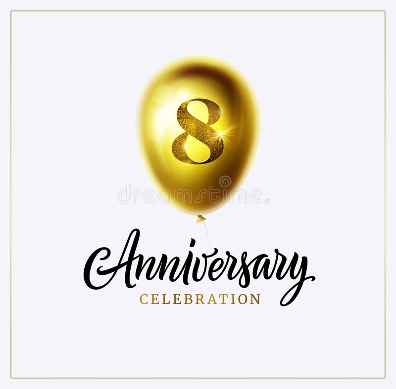 1st anniversary celebration background. First jubilee. Gold balloon with number one and lettering text isolated on white. Perfect for anniversary logo vector illustration