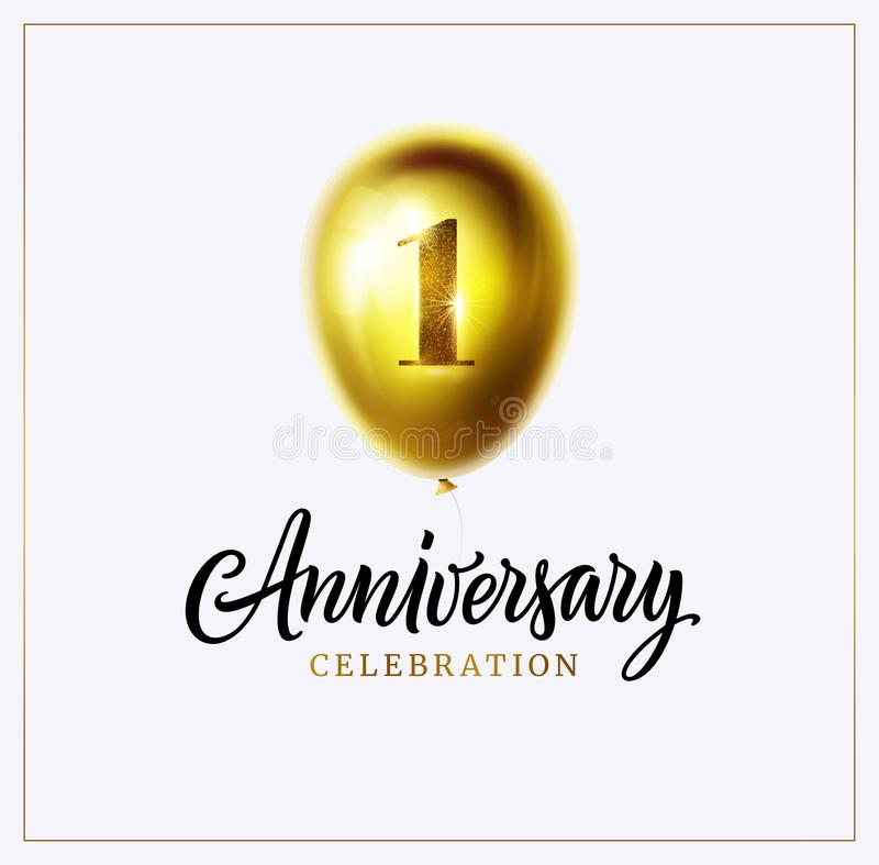 1st anniversary celebration background. First jubilee. Gold balloon with number one and lettering text isolated on white. Vector. Perfect for anniversary logo stock illustration