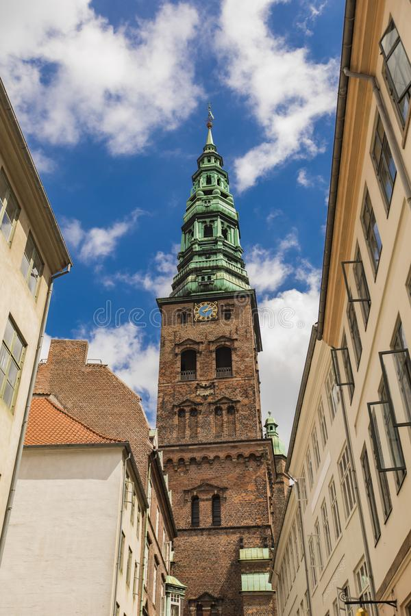 St anterior Nicholas Church em Copenhaga, Dinamarca fotografia de stock