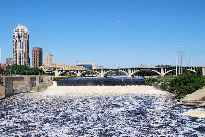 St. Anthony Falls in Minneapolis royalty free stock photography