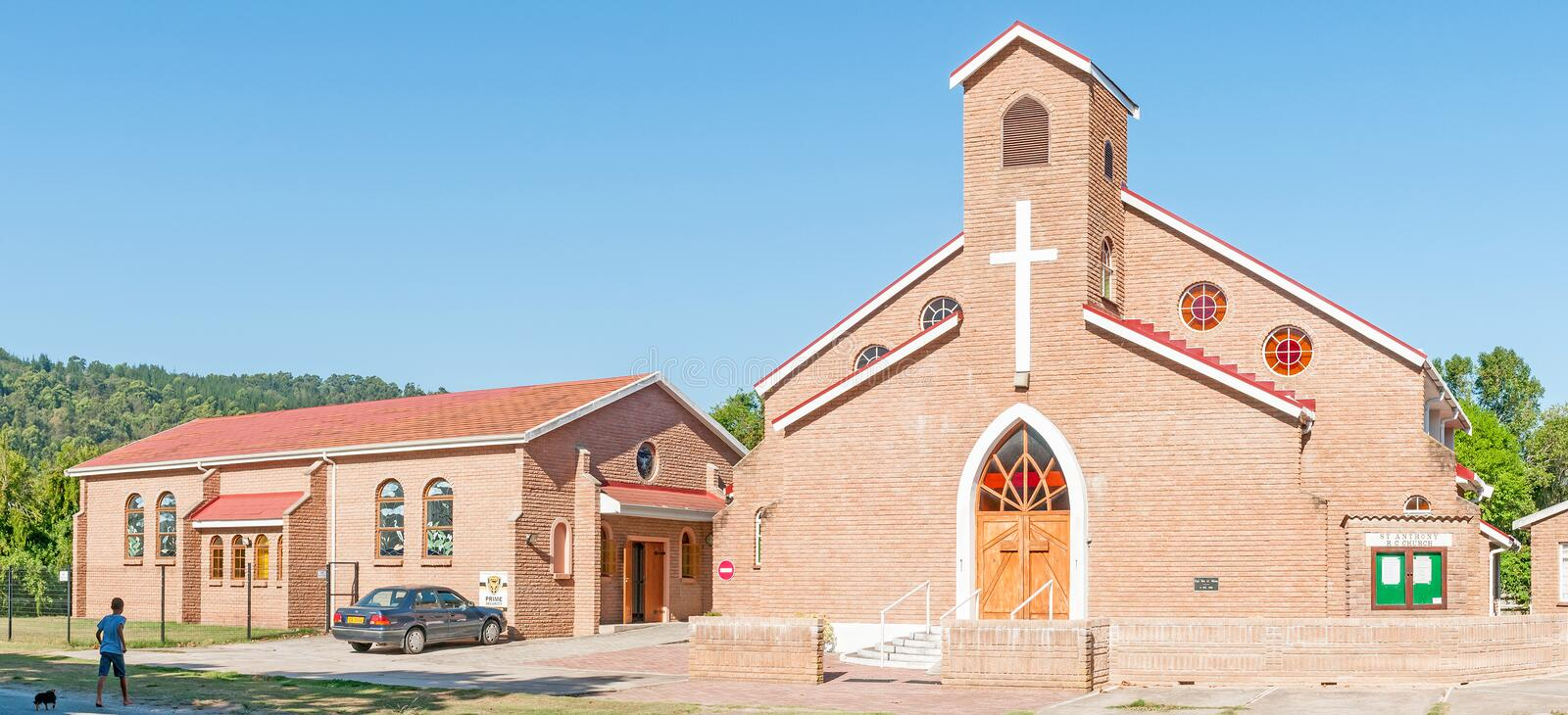 St. Anthony Roman Catholic Church in Sedgefield. SEDGEFIELD, SOUTH AFRICA - MARCH 4, 2016: Stitched panorama of the St. Anthony Roman Catholic Church in royalty free stock images