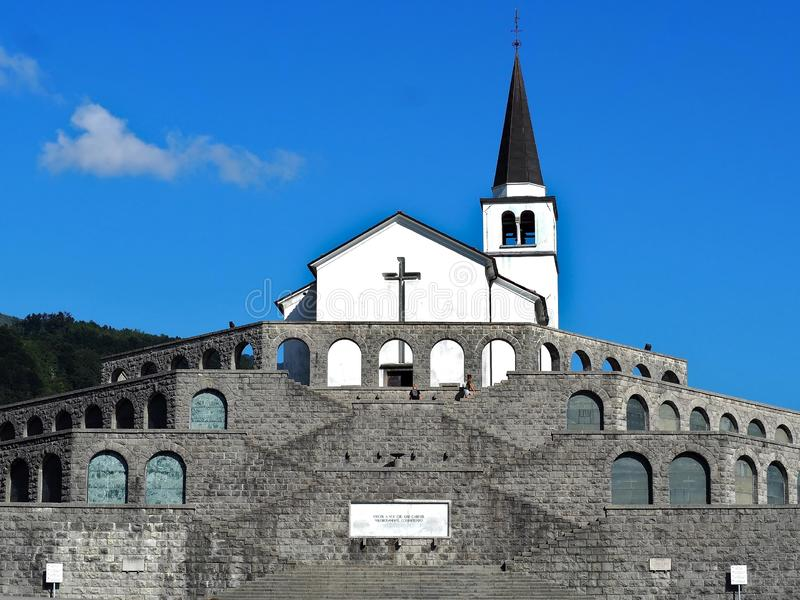 St. Anton church in Kobarid, memorial monument dedicated to fallen italian soldiers of the first world war stock photo