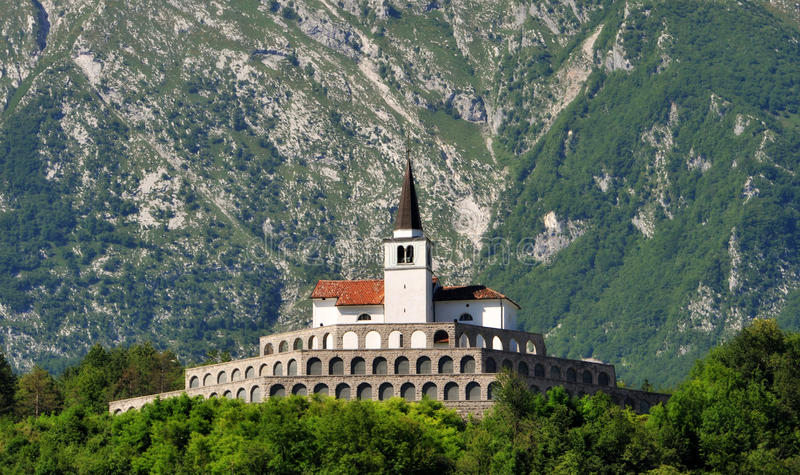 St. anton church in kobarid. Town, Slovenia royalty free stock photography