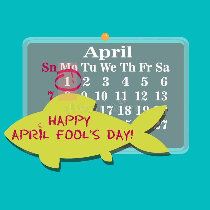1st april kalender med den pappers- fisken på dag för ` s för April dumbom royaltyfri illustrationer
