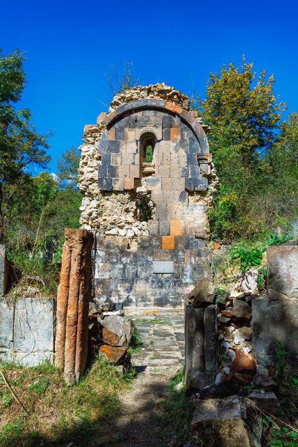 St. Astvatsatsin Holy Mother of God Church ruins in Aghveran. Ruins of St. Astvatsatsin Holy Mother of God Church in Aghveran on the Tsakhkuniats mountain built stock photography