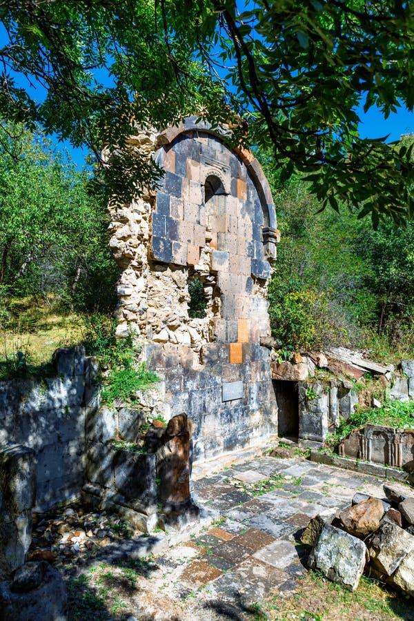 St. Astvatsatsin Holy Mother of God Church ruins in Aghveran. Ruins of St. Astvatsatsin Holy Mother of God Church in Aghveran on the Tsakhkuniats mountain built stock photos