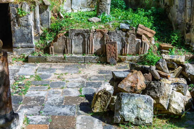 St. Astvatsatsin Holy Mother of God Church ruins in Aghveran. Ruins of St. Astvatsatsin Holy Mother of God Church in Aghveran on the Tsakhkuniats mountain built stock image