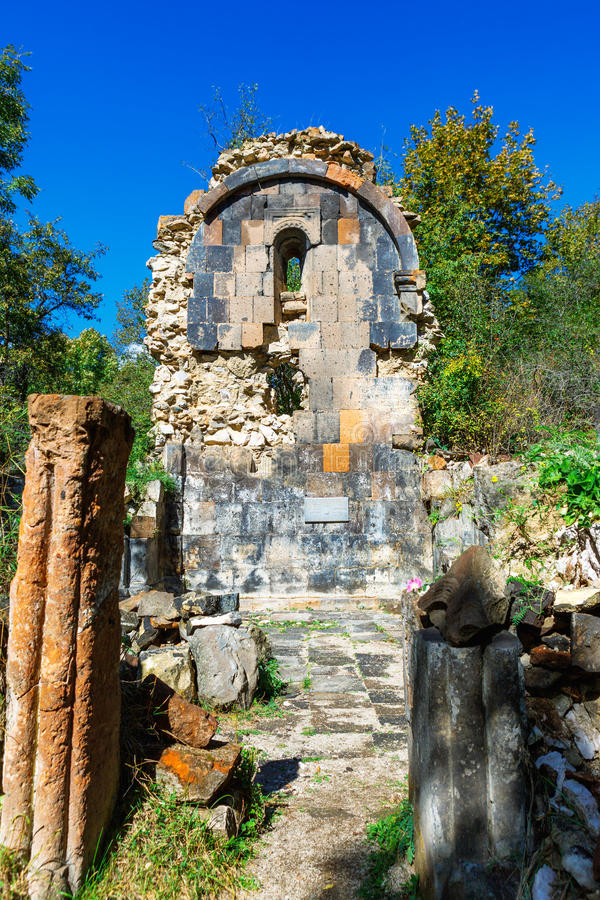St. Astvatsatsin Holy Mother of God Church ruins in Aghveran. Ruins of St. Astvatsatsin Holy Mother of God Church in Aghveran on the Tsakhkuniats mountain built royalty free stock images