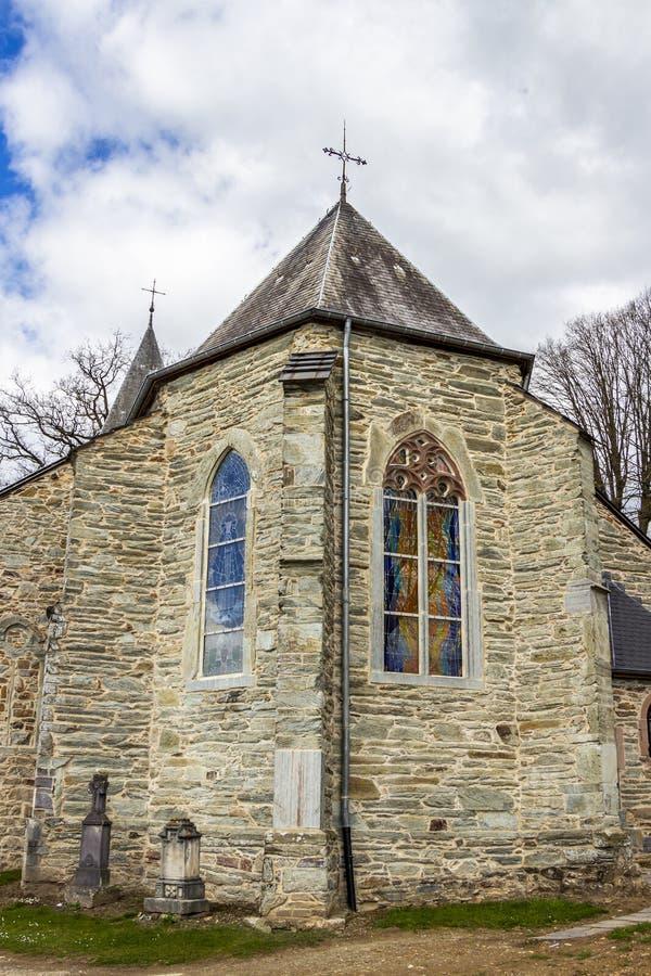 St. Aubin Church in Bellevaux, Bellevaux-Ligneuville, Malmedy, Belgium. Exterior partial view royalty free stock photography
