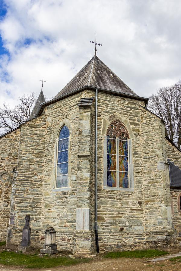 St Aubin kościół w Bellevaux, Bellevaux-Ligneuville, Malmedy, Belgia fotografia royalty free