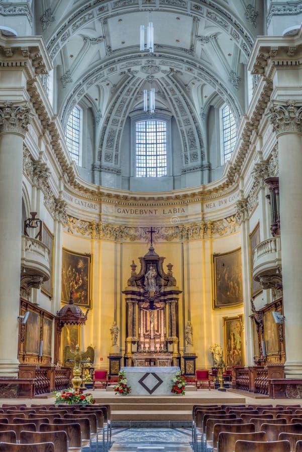 St Aubin ` s katedra w Namur, Belgia obrazy royalty free
