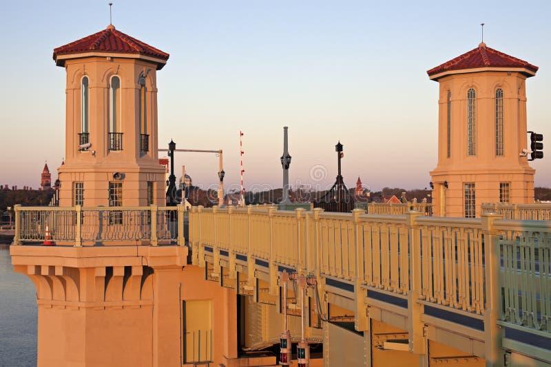 St. Augustine -在日出的桥梁 图库摄影
