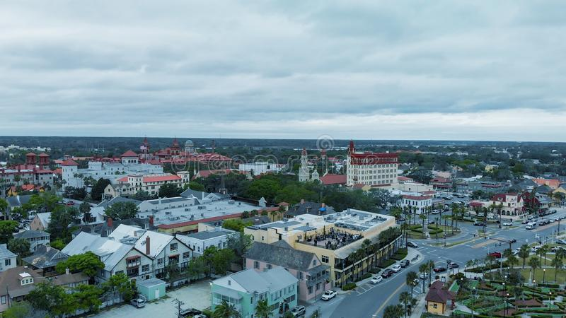 St Augustine aerial view from drone, Florida.  stock photography
