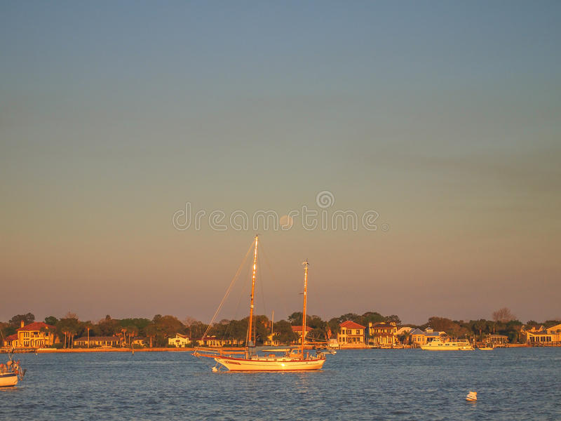 St. Augustine Bay at Sunset stock photography