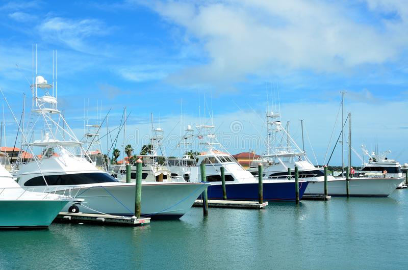 St Augustine boat marina. Scenic view of sailboats moored in St Augustine harbor marina, Florida, U.S.A royalty free stock photo