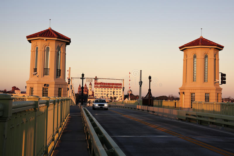 St. Augustine - bridge at sunrise. St. Augustine - taxi on the old bridge at sunrise royalty free stock photography