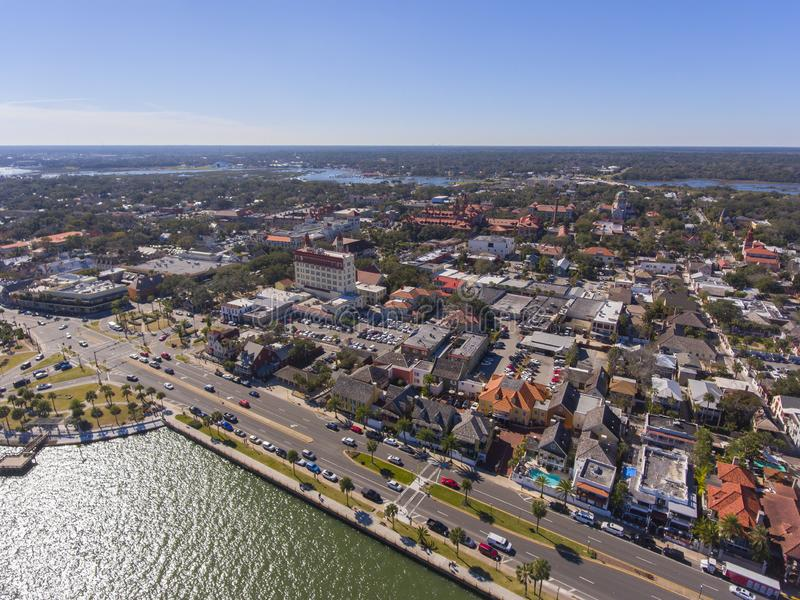 St. Augustine city aerial view, Florida, USA royalty free stock images