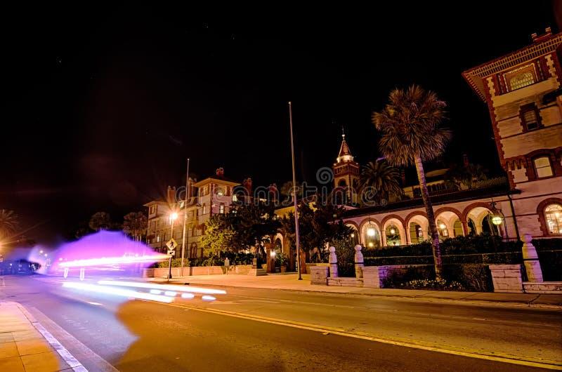 St augustine city street scenes atnight stock image