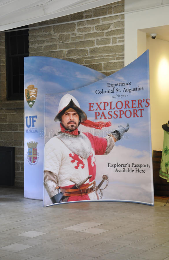 St Augustine FL,August 8th:Advertising in Visitor Center building from St Augustine in Florida stock images