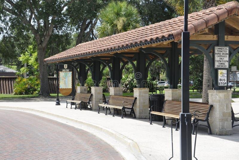 St Augustine FL, 8 Augustus: Busstation van St Augustine in Florida stock foto