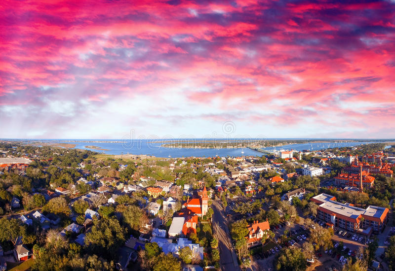 St Augustine, Florida. Beautiful aerial view on a sunny day.  royalty free stock images