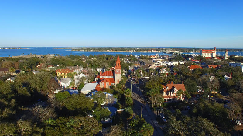 St Augustine, Florida. Beautiful aerial view on a sunny day.  royalty free stock photo