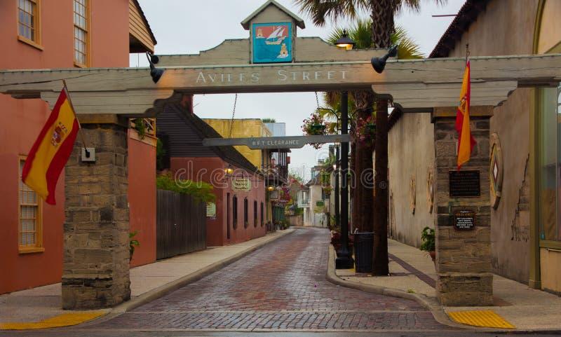 St Augustine Florida de la calle de Avilés fotos de archivo libres de regalías