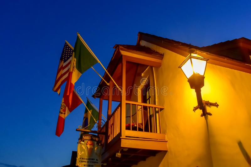 Top view of balcony and flags of seventeenth century mansion in Florida`s Historic Coast . stock photography