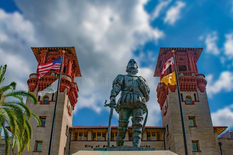 Pedro Menendez de Aviles statue on Lightner Museum background  in Florida`s Historic Coast . St. Augustine, Florida. May  30 , 2019 . Pedro Menendez de Aviles stock photos