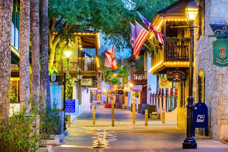 St Augustine, Florida an St. George Street lizenzfreies stockfoto
