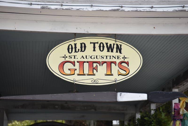 St Augustine Gift Store Sign, St Augustine, Florida di Città Vecchia immagini stock