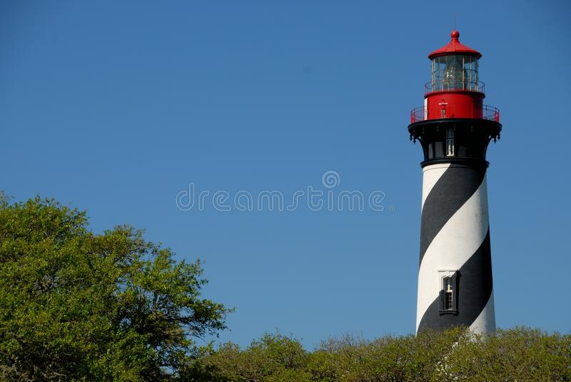 St. Augustine Lighthouse. Scenic view of St. Augustine lighthouse with blue sky background, Florida, U.S.A royalty free stock photo