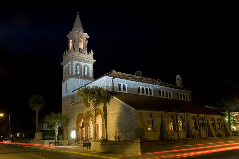 St. Augustine at night. Church in the oldest european settlement in USA - St. Augustine, Florida stock image