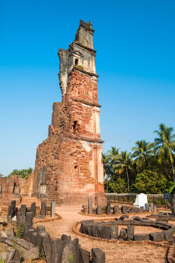 St. Augustine ruined church, Goa. Church of St. Augustine is a ruined church complex located in Old Goa in India royalty free stock photo