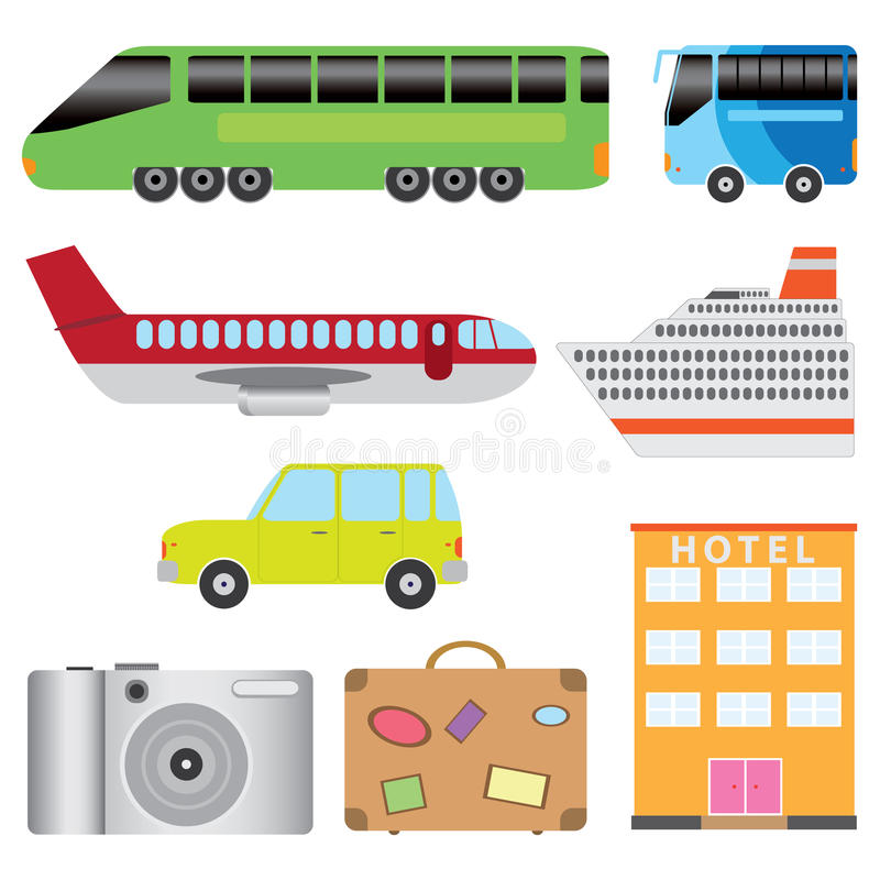 ställ in turismtransport vektor illustrationer
