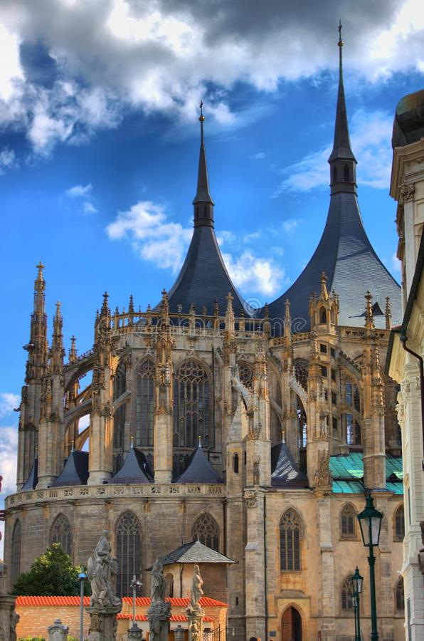 St. Barbara cathedral in Kutna Hora stock image