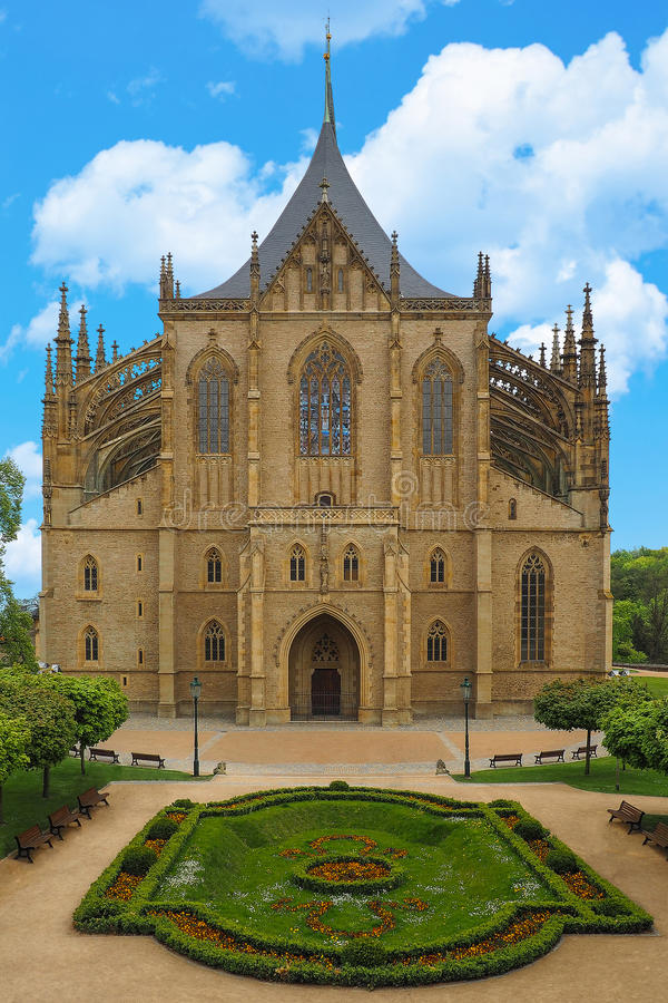 St Barbara Cathedral in Kutna Hora, Czech Republic. One of the most famous Gothic churches in Europe, UNESCO World Heritage Site. St Barbara Cathedral in Kutna royalty free stock photography