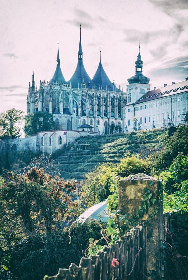 St Barbara Kerk, Kutna Hora, Tsjechische, analoge filter royalty-vrije stock afbeelding