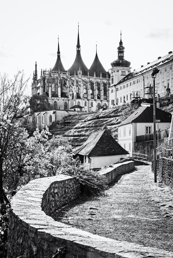 St Barbara Kerk, Kutna kleurloze Hora, Tsjechisch, stock afbeeldingen