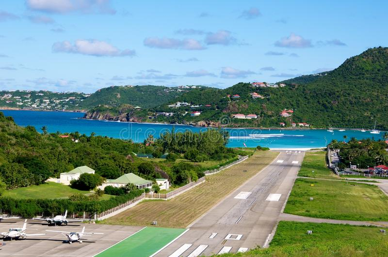 St Barth airport stock photography