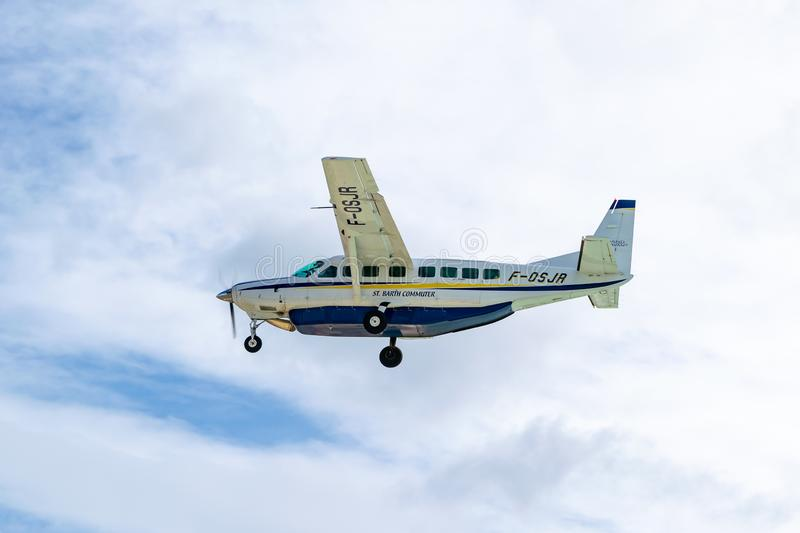 St Barth commuter aircraft, a Cessna 208B Grand Caravan regional airliner stock images