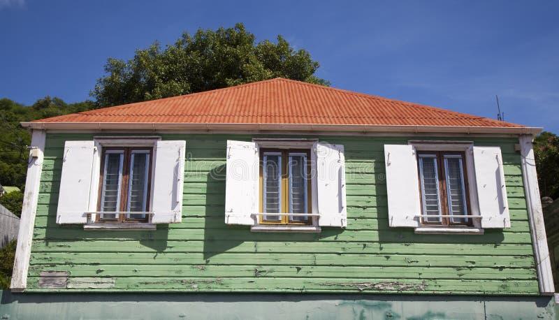 Oud traditioneel huis in Gustavia bij St Barths, de Franse Antillen royalty-vrije stock fotografie