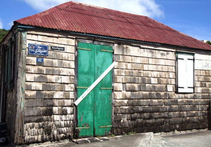 Oud traditioneel huis in Gustavia bij St Barths. stock foto's
