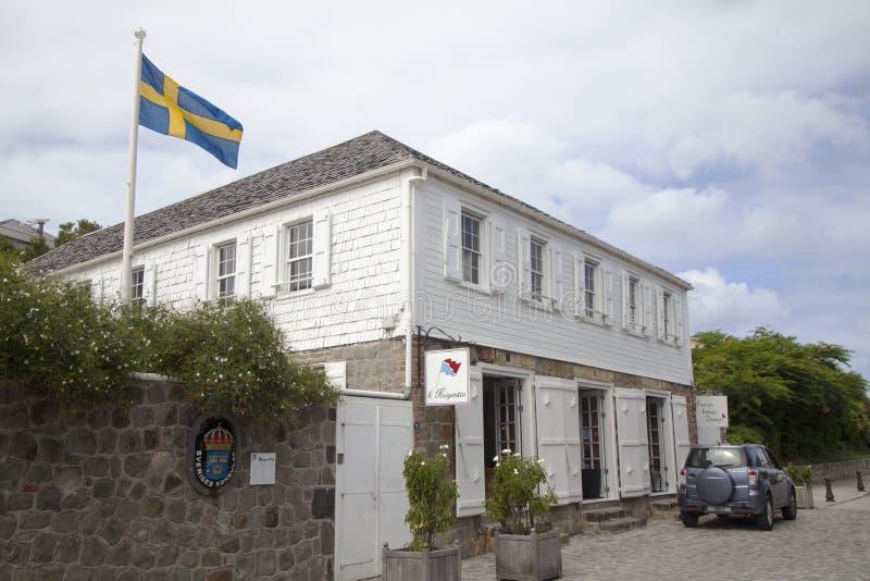 Consulado sueco en Gustavia, St Barths imagen de archivo
