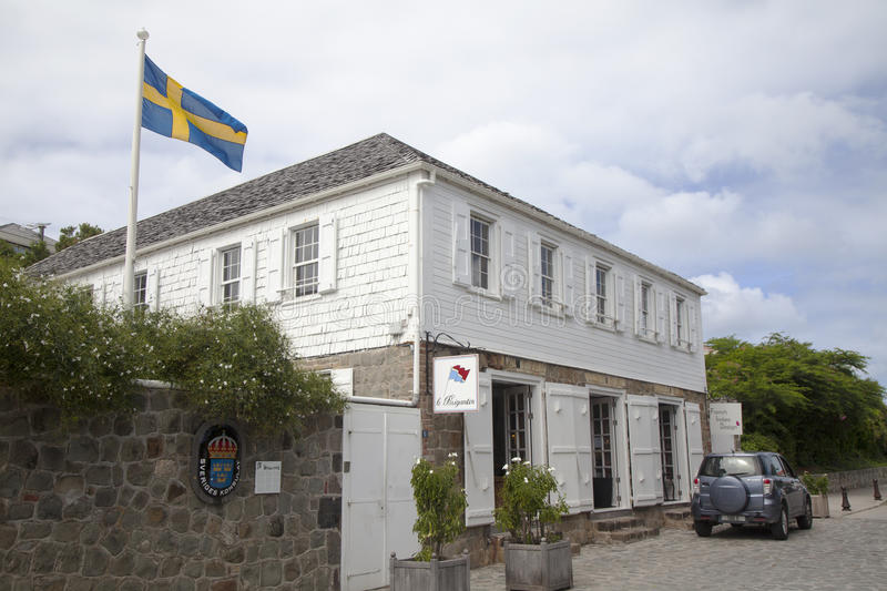Swedish consulate in Gustavia, St Barths stock image