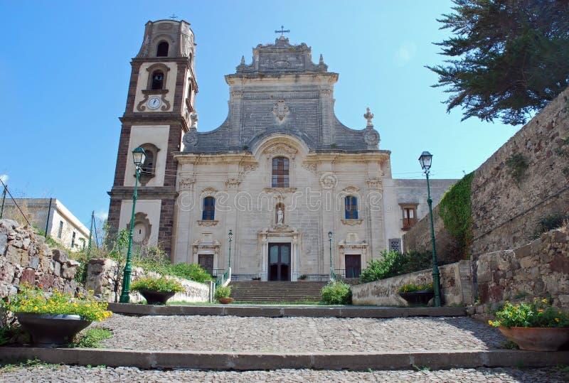 St. Bartholomew's Cathedral, Lipari, Italy. St. Bartholomew's Cathedral, Lipari, Aeolian Island , Italy stock images