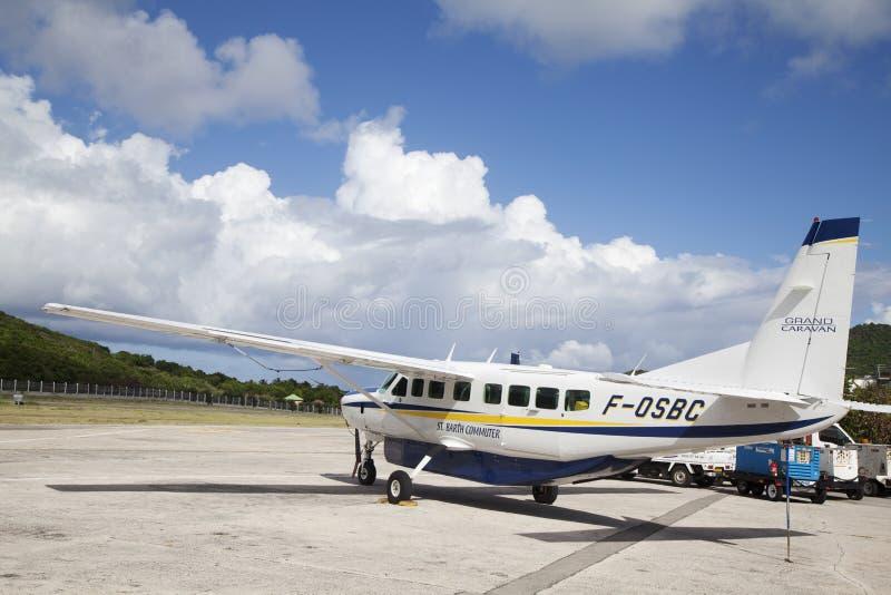 St Barth forenzenvliegtuigen klaar op te stijgen royalty-vrije stock foto